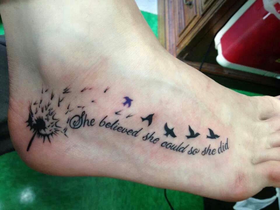 Dandelion Bird Tattoo: 37+ Cool Dandelion Tattoo Ideas For Foot
