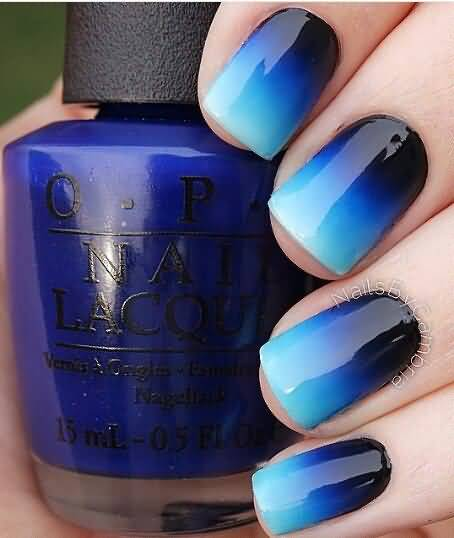 25 best blue ombre nail art design pictures and images black and blue glossy ombre nail art design prinsesfo Gallery