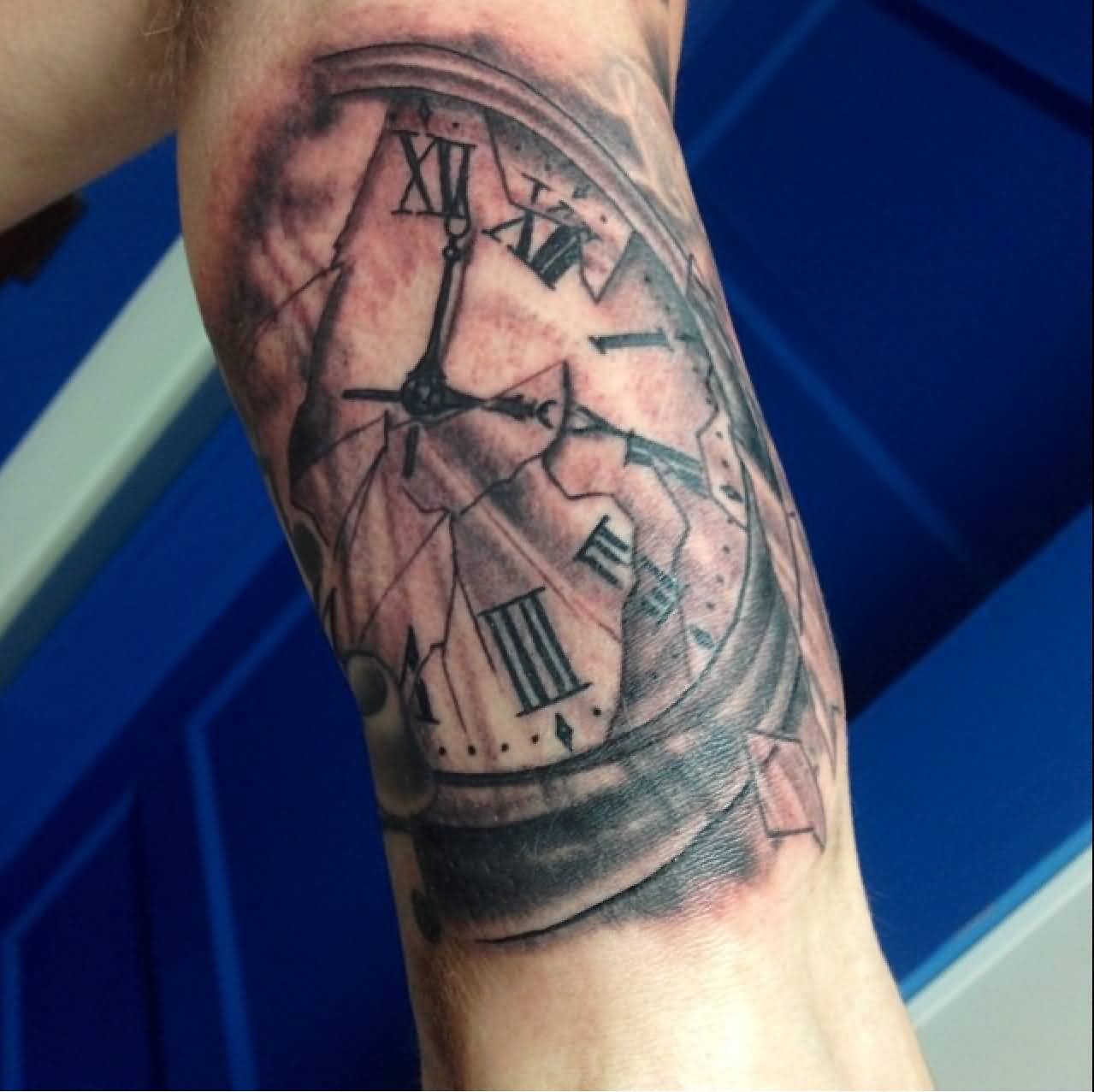 Black And Grey Clock Tattoo On Left Bicep