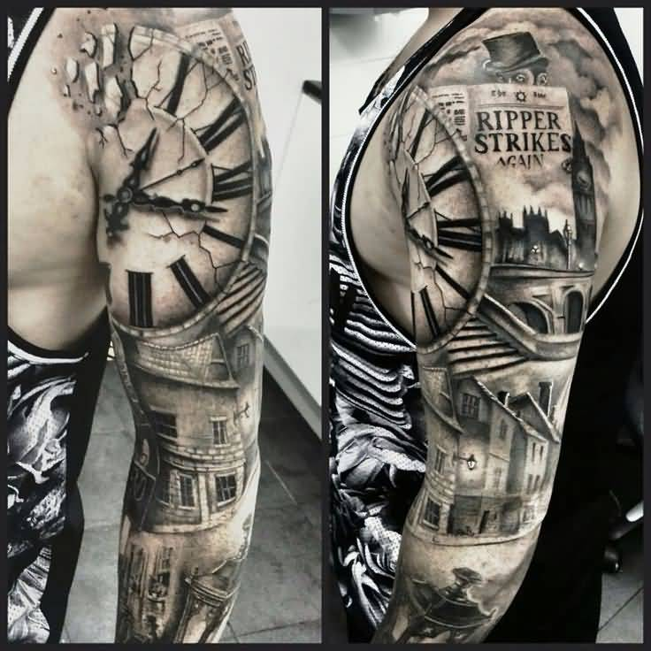 28+ Awesome Clock Sleeve Tattoo