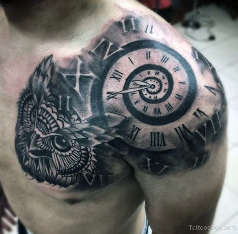 Black And Grey Owl Head With Clock Tattoo On Front Shoulder