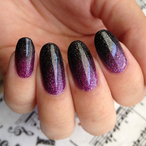 Black And Purple Gel Ombre Nail Art Design - 51+ Beautiful Black Ombre Nail Art Design Pictures