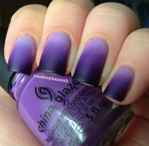Black And Purple Matte Ombre Nail Art