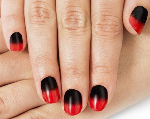 Black And Red Ombre Nail Art
