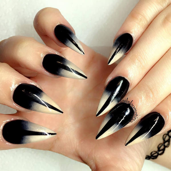 Black And White Glossy Stiletto Ombre Nail Art Design