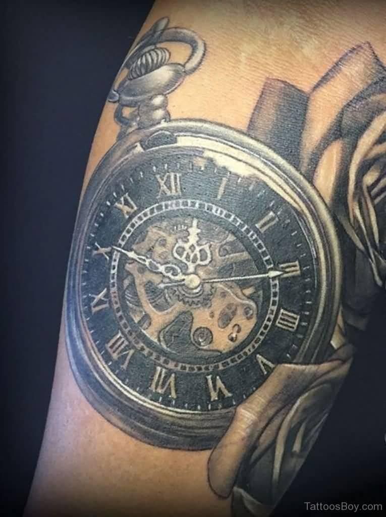 Antique clock tattoo