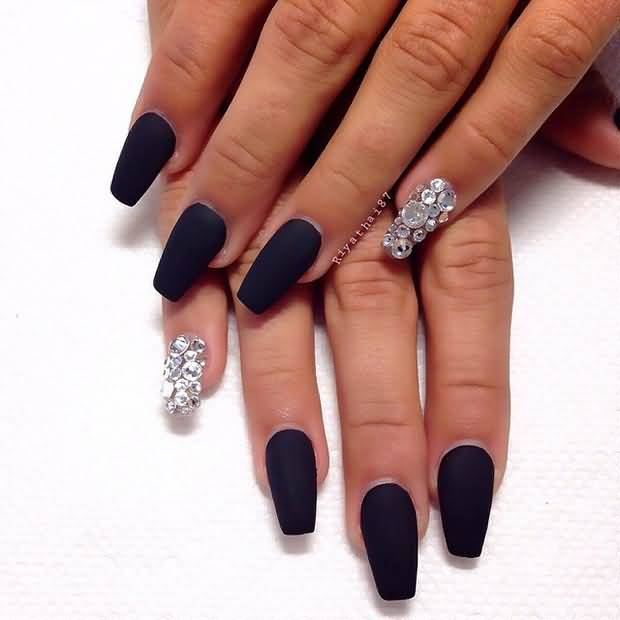 Black Matte Nails And Rhinestones Accent Nail Art