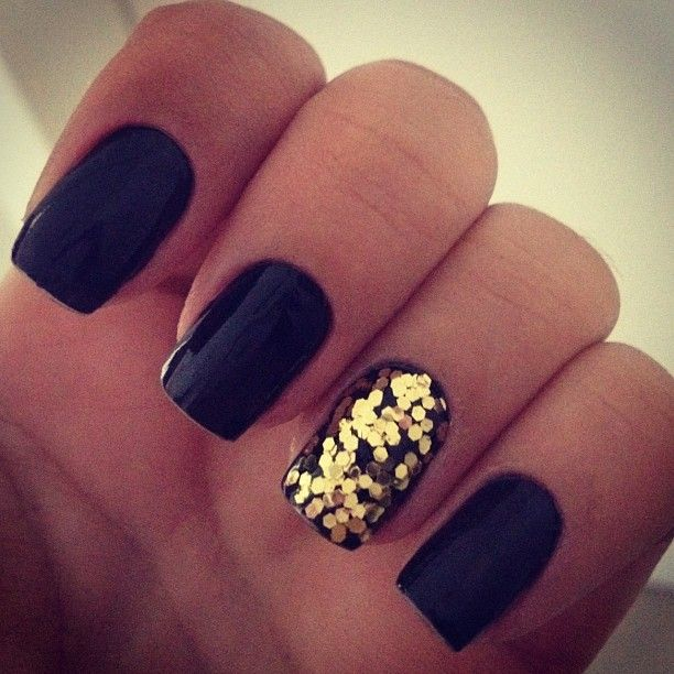 Black Matte Nails With Gold Glitter Accent Nail Art