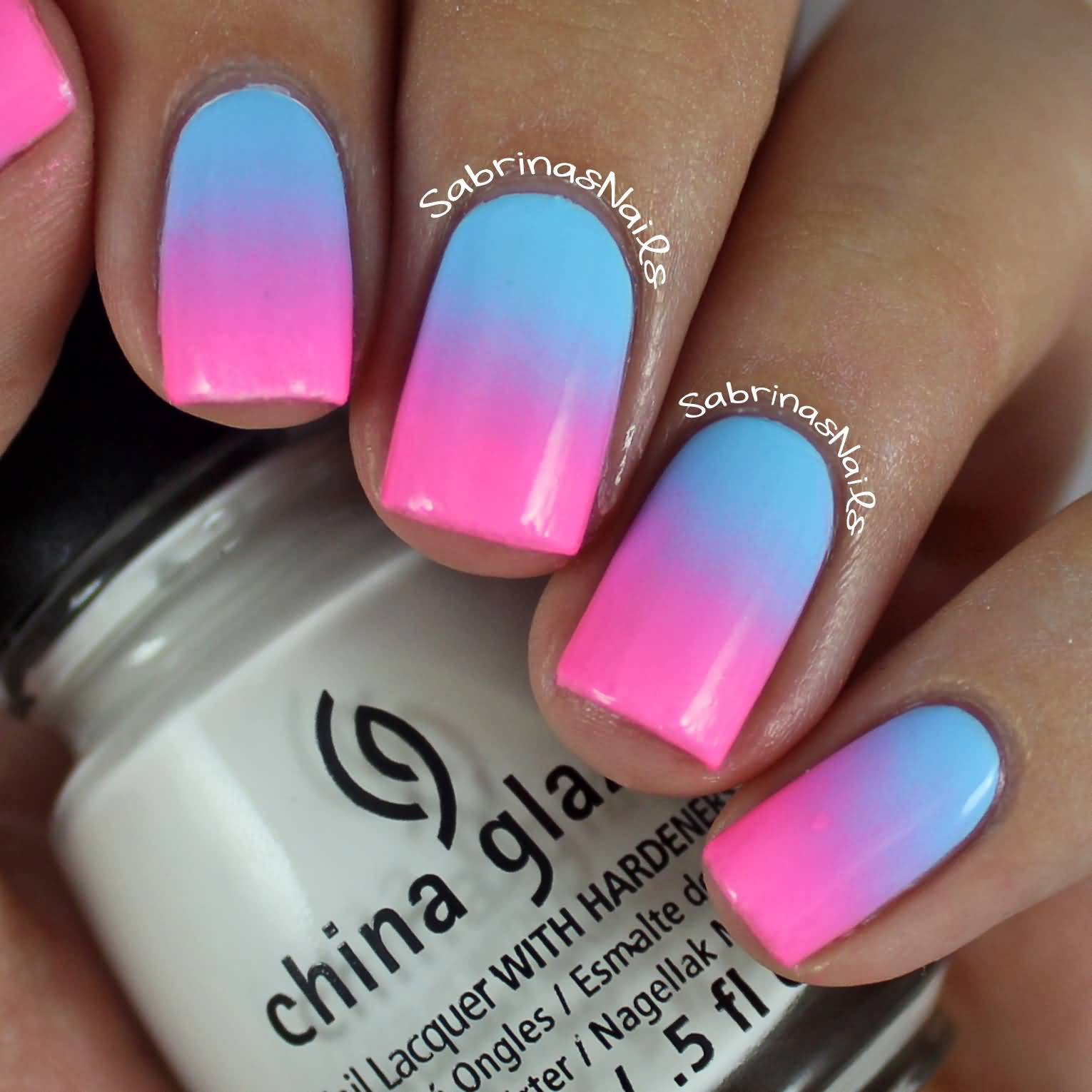 Blue And Pink Ombre Nail Art