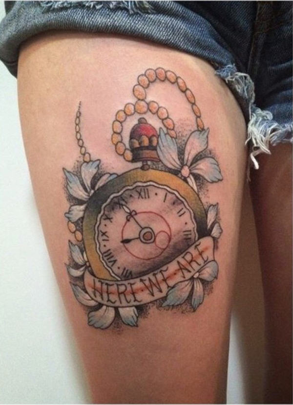 32 beautiful clock tattoos for girls. Black Bedroom Furniture Sets. Home Design Ideas