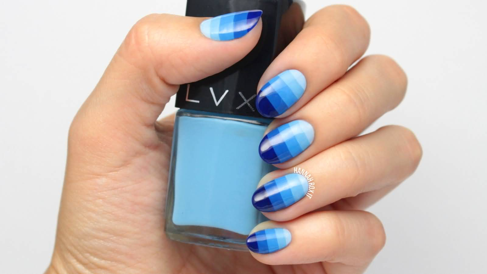 Blue Stripped Ombre Nail Art