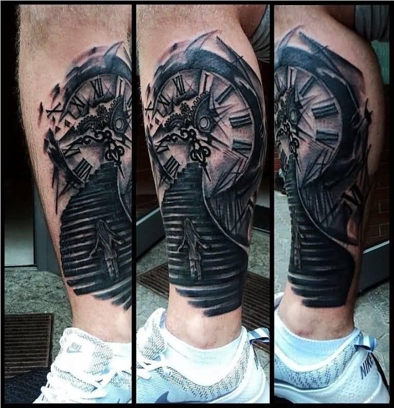34 incredible broken clock tattoos for Clock tattoos for guys