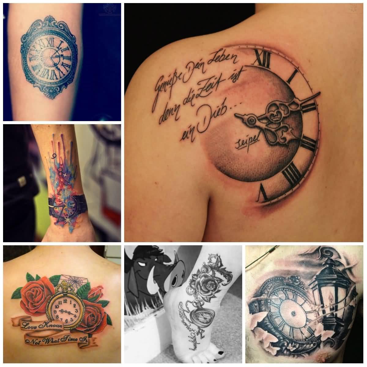 59965a1e78262 32+ Beautiful Clock Tattoos For Girls