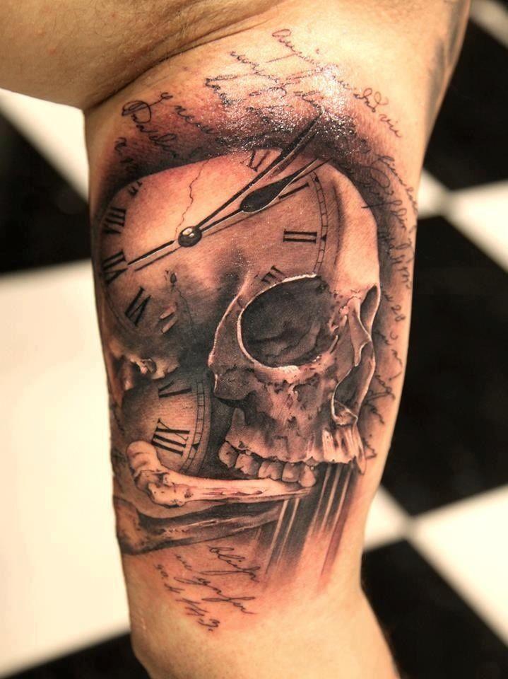 Cool Skull And Clock Tattoo On Half Sleeve