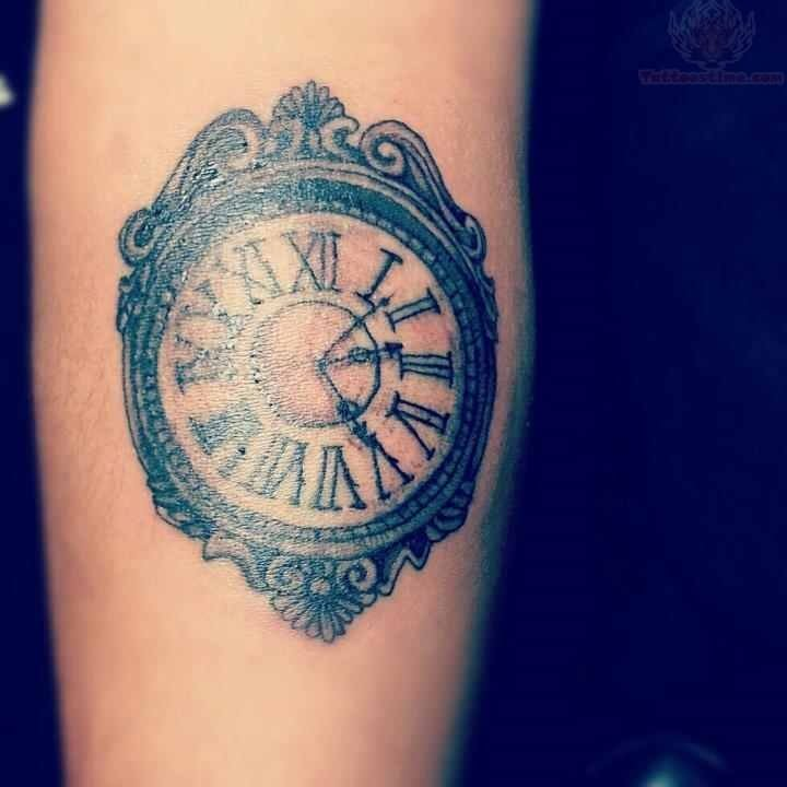 grandfather clock face tattoo. cute clock tattoo on arm grandfather face d
