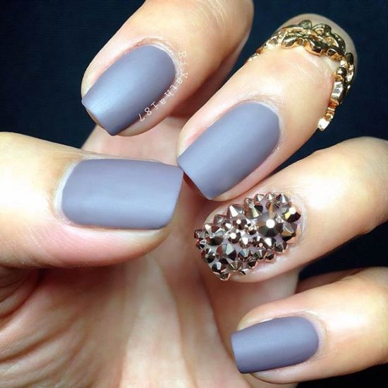 - Cute Gray Matte Nails With Caviar Accent Nail Art