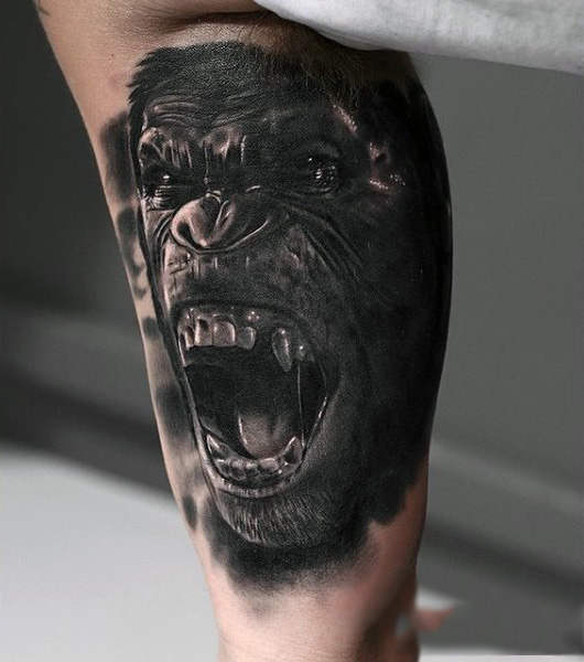 494f43c14 Dark Ink Angry Chimpanzee Tattoo On Inner Bicep