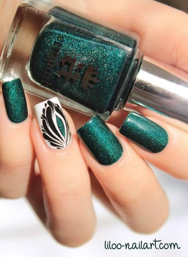 - Elegant Dark Green Nail Polish With Peacock Accent Nail Art