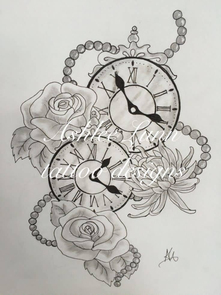 Rose Clock Tattoo Designs Drawing: 32+ Beautiful Clock Tattoos For Girls