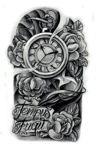 438366b9a Flowers And Clock Tattoo Design For Half Sleeve