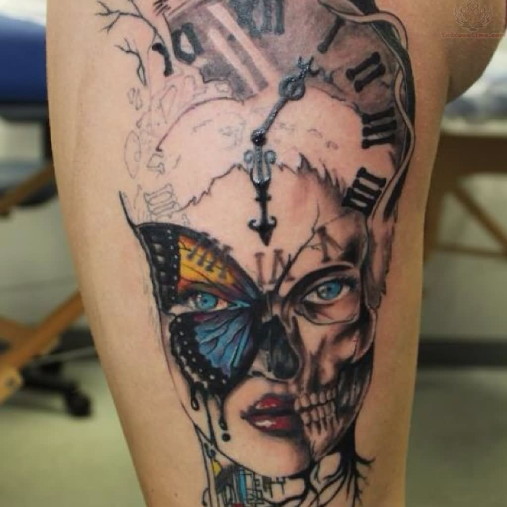 grandfather clock face tattoo. girl face and clock tattoo on half sleeve grandfather