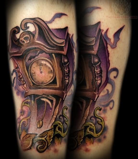grandfather clock face tattoo. gothic grandfather clock tattoo design face c