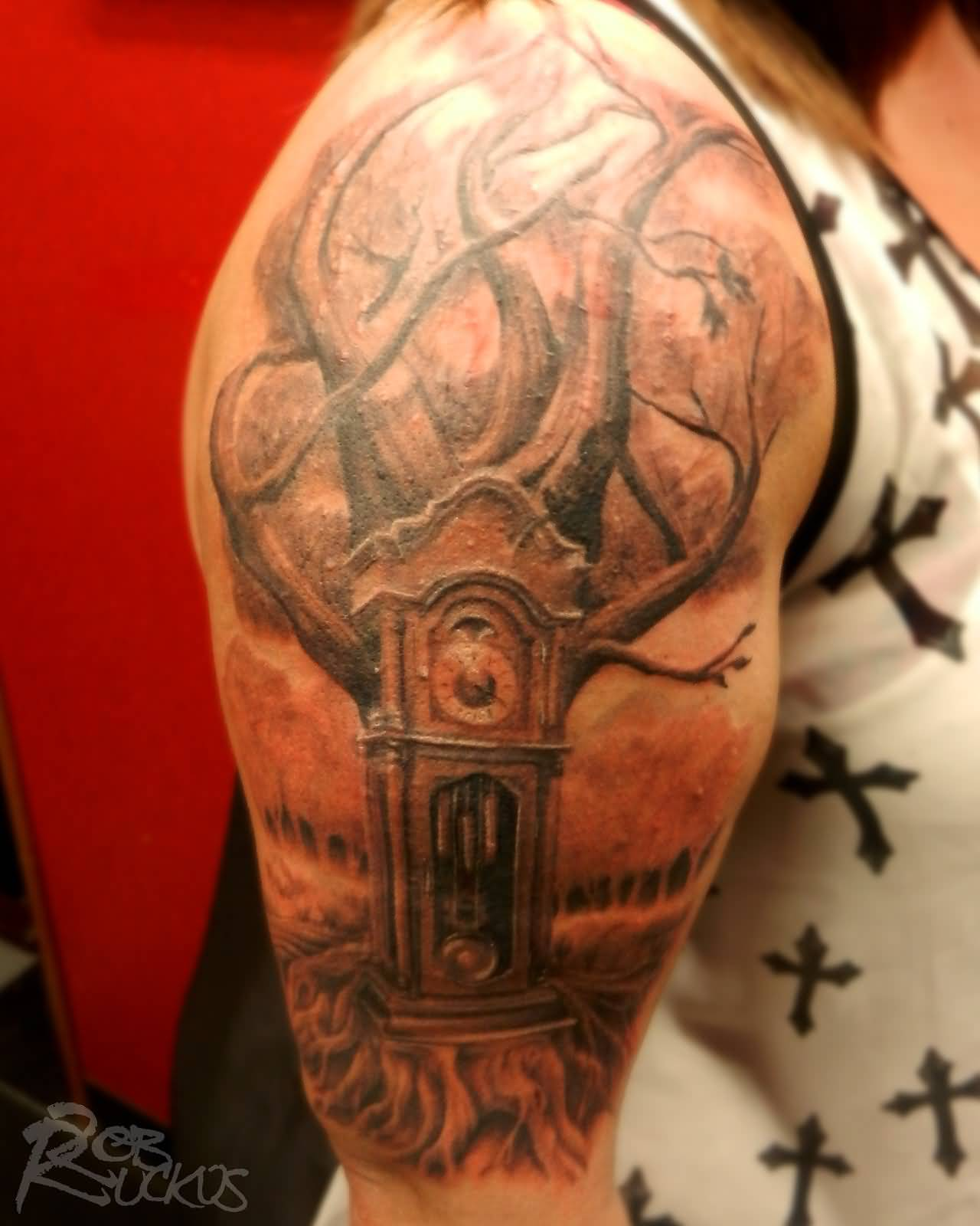 grandfather clock face tattoo. grandfather clock tree tattoo on half sleeve by robruckus face o