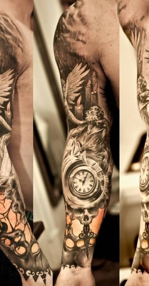 28 awesome clock sleeve tattoo. Black Bedroom Furniture Sets. Home Design Ideas