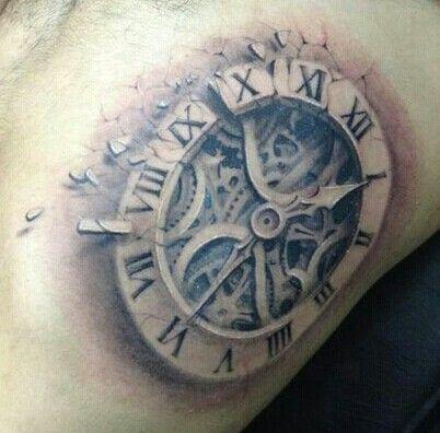 b8a8d6e9d Grey Ink Realistic Broken Clock Tattoo