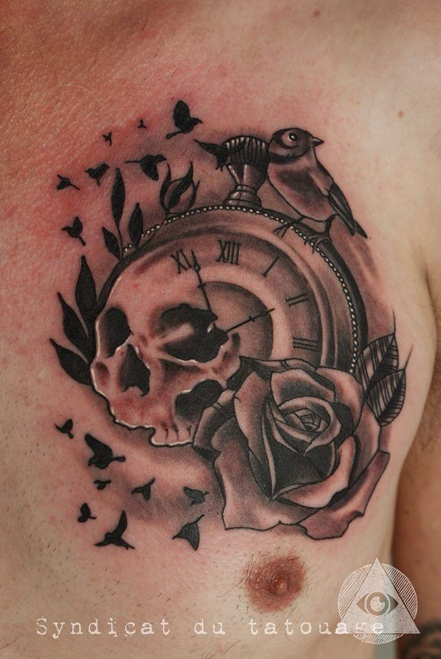 e45974158588c Grey Rose And Skull In Broken Clock Tattoo On Chest