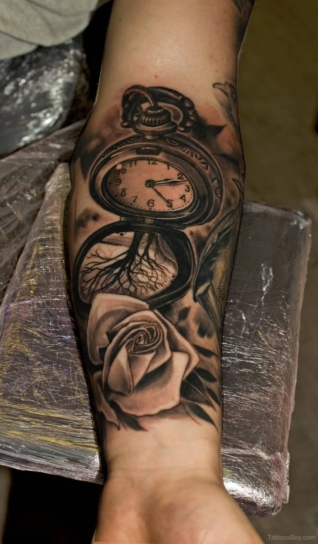 Clock forearm black rose sleeve tattoo - Clock Forearm Black Rose Sleeve Tattoo 14