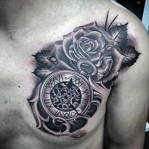 19 wonderful grey ink clock tattoos for What does a clock tattoo mean