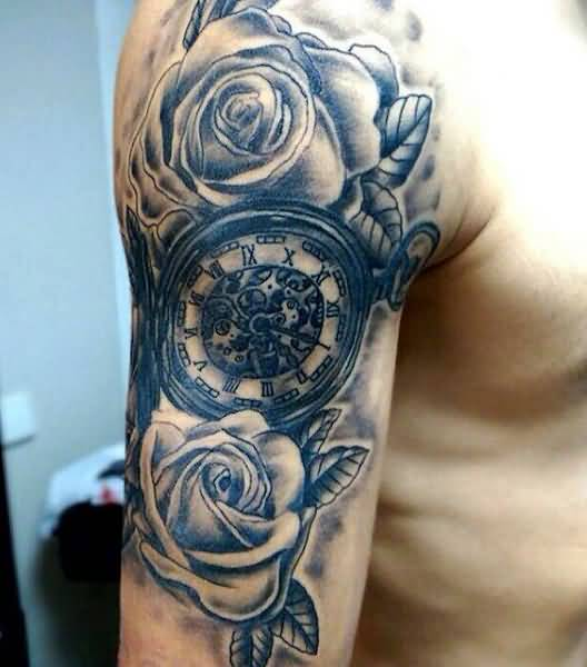 19+ Wonderful Grey Ink Clock Tattoos
