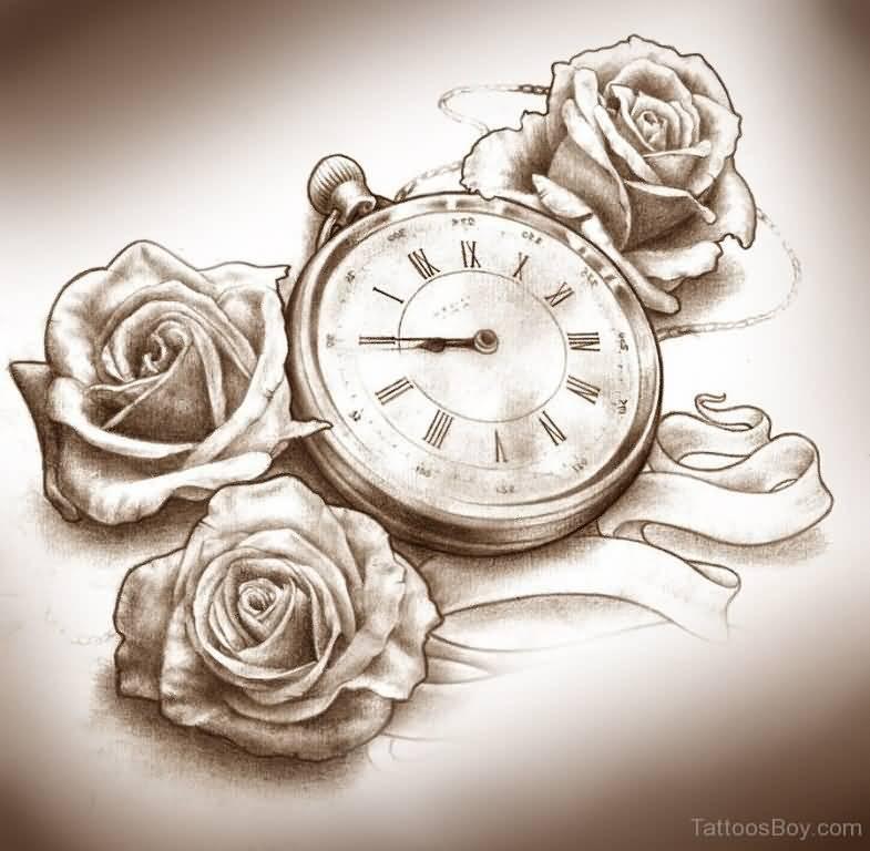 Tattoo Designs Roses And Clock: 23+ Latest Clock Tattoo Designs