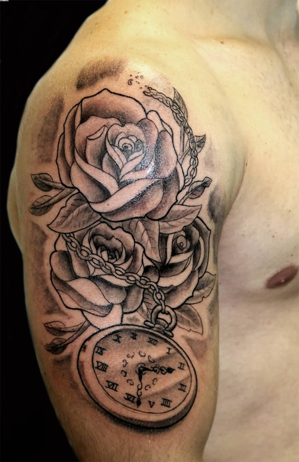 Clock forearm black rose sleeve tattoo - Grey Roses And Clock Tattoo On Man Right Half Sleeve
