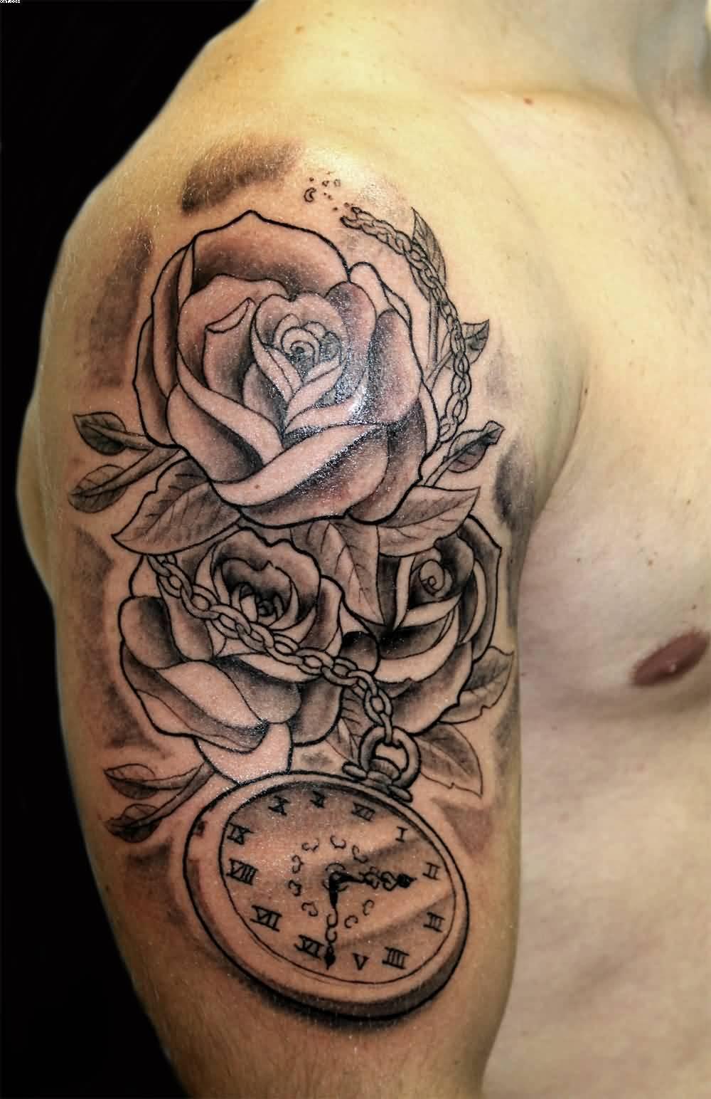 19 wonderful grey ink clock tattoos for Roses sleeve tattoos
