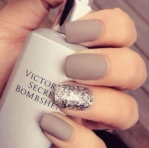 Matte Nails With Glitter Accent Nail Art