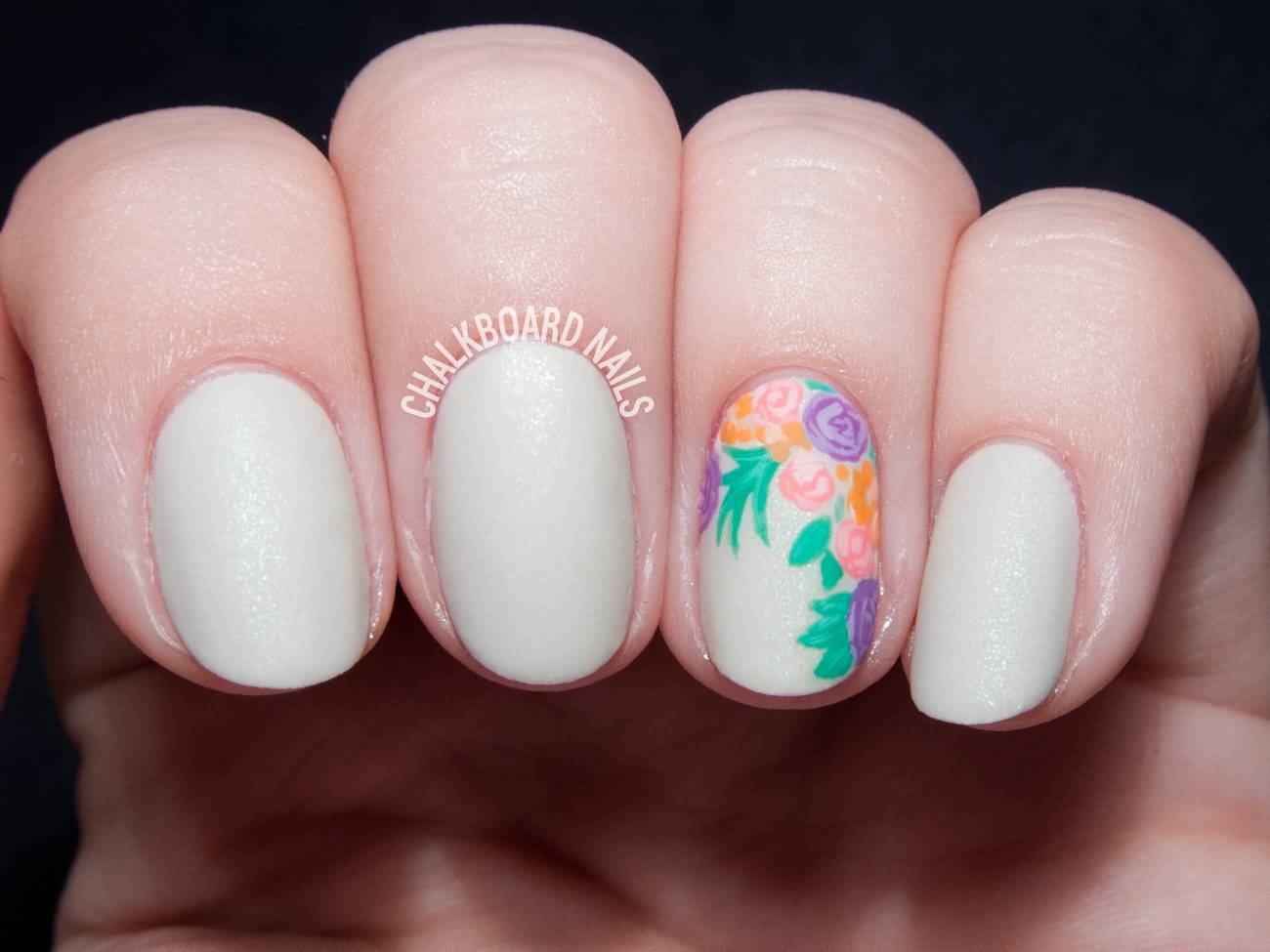 Multicolored Flowers Accent Nail Art