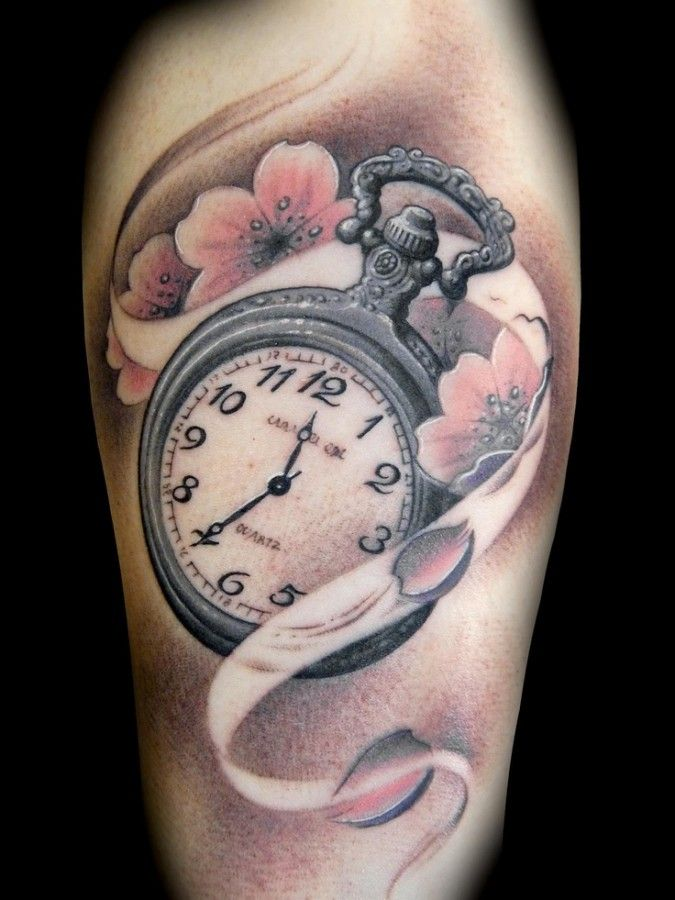 Nice Flowers And Clock Tattoo For Girls