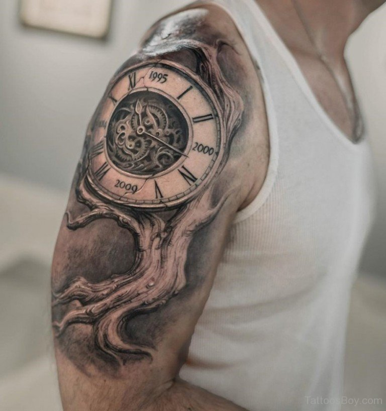 grandfather clock face tattoo. 28 awesome clock sleeve tattoo grandfather face