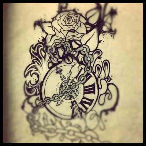 Heart And Rose Love Drawings 23+ Latest Clock Tatto...