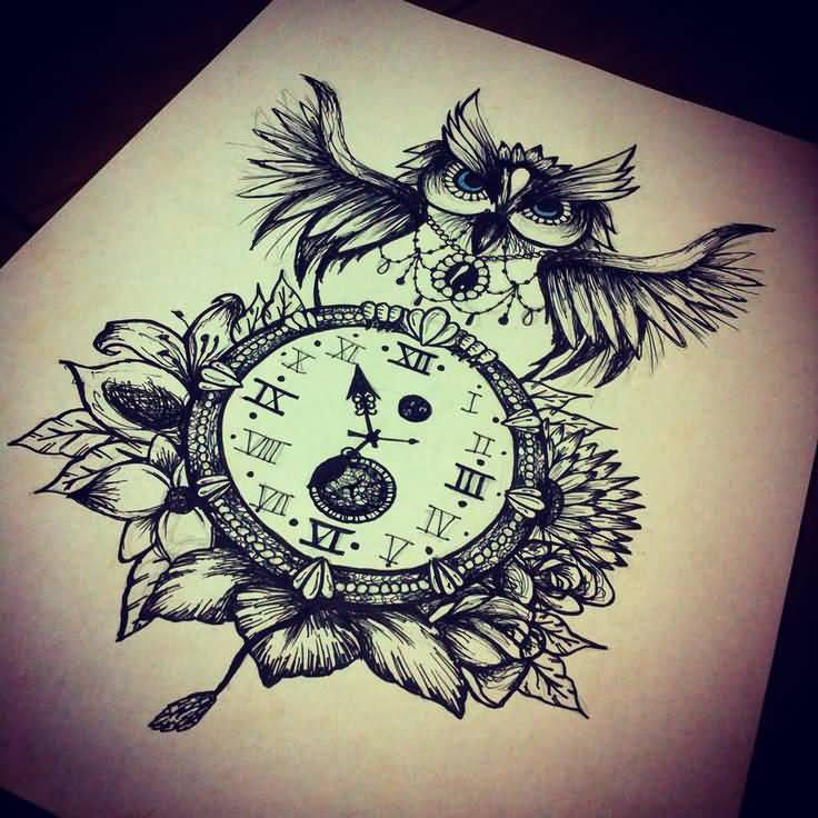 Gallery For gt Owl Clock Chest Tattoo