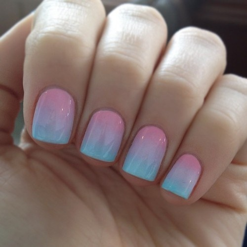 50 most beautiful ombre nail art design ideas for girls pink and blue ombre nail art prinsesfo Gallery