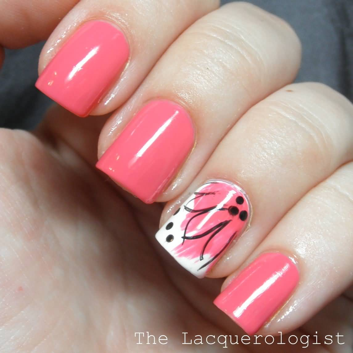 Pink Flower Accent Nail Design - 35 Best Flower Accent Nail Art Ideas