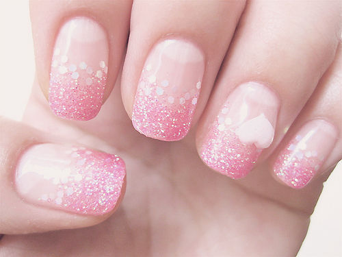 50 most adorable glitter ombre nail art design pictures and images pink glitter ombre nails art design prinsesfo Image collections