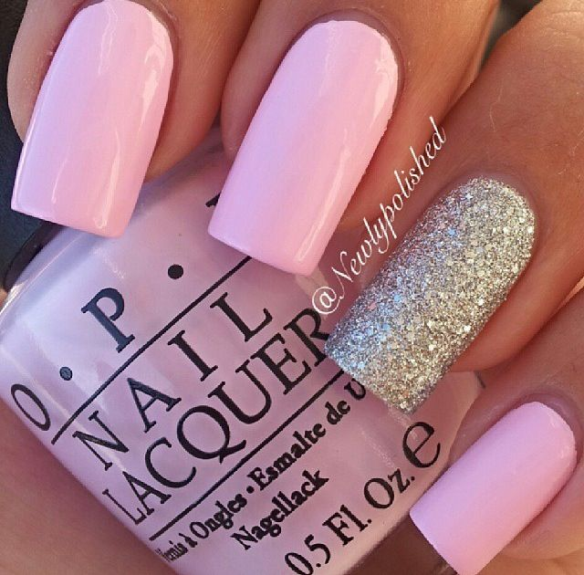 Pink Nails With Glitter Accent Nail- HireAbility