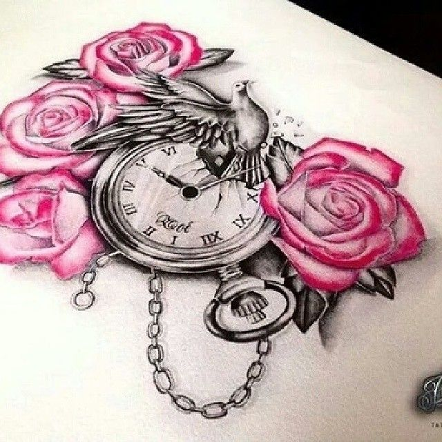 Pink Rose Flowers And Clock Tattoo Design
