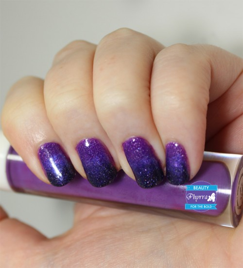 Purple And Black Gel Ombre Nail Art