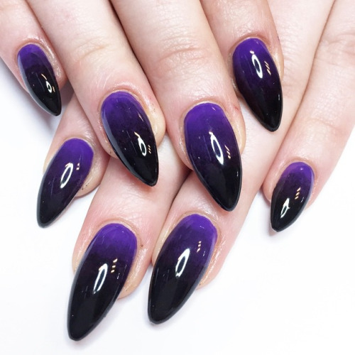 Purple And Black Glossy Ombre Nail Art