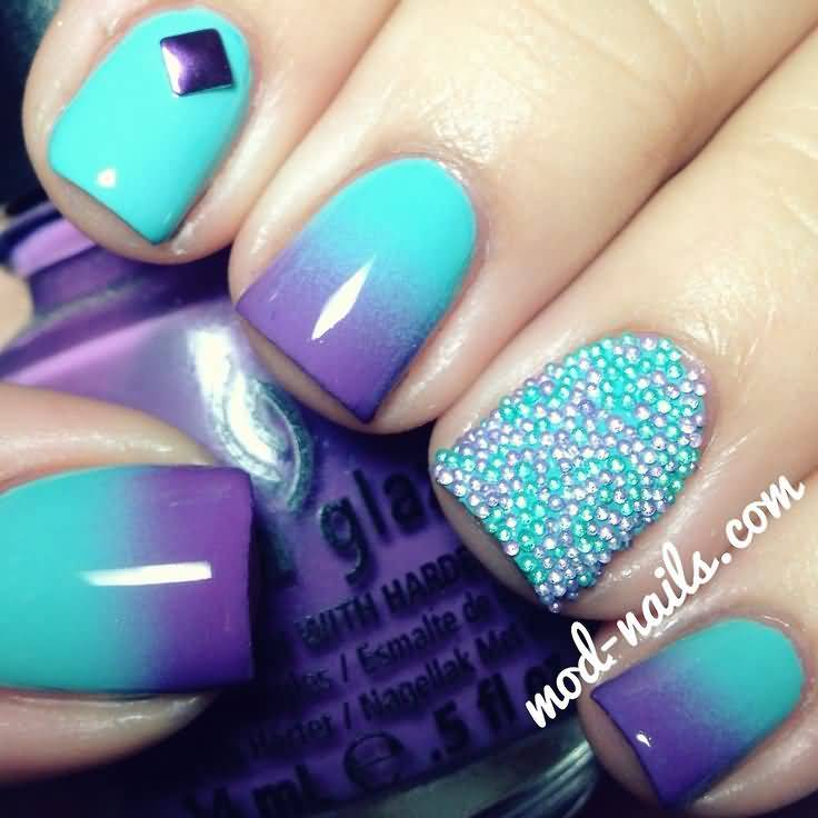 25 Best Blue Ombre Nail Art Design Pictures And Images
